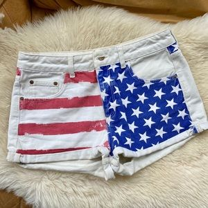 Topshop Moto Shorts American Flag Stars Stripes